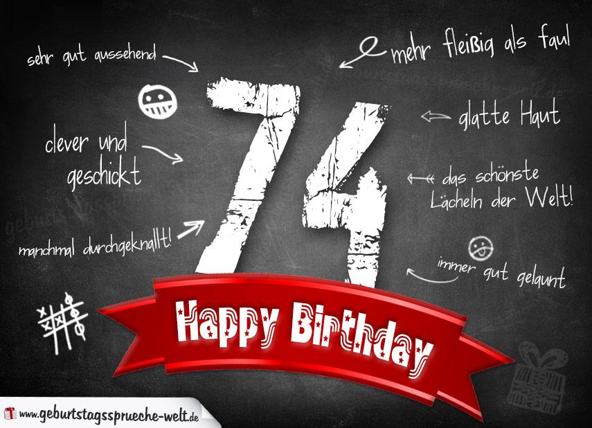Komplimente Geburtstagskarte Zum 74 Geburtstag Happy