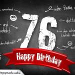 Komplimente und Sprüche zum 76. Geburtstag auf Tafel geschrieben