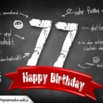 Komplimente und Sprüche zum 77. Geburtstag auf Tafel geschrieben