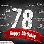 Komplimente und Sprüche zum 78. Geburtstag auf Tafel geschrieben