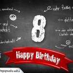 Komplimente und Sprüche zum 8. Geburtstag auf Tafel geschrieben