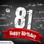 Komplimente und Sprüche zum 81. Geburtstag auf Tafel geschrieben