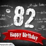 Komplimente und Sprüche zum 82. Geburtstag auf Tafel geschrieben
