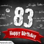 Komplimente und Sprüche zum 83. Geburtstag auf Tafel geschrieben