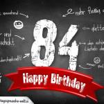 Komplimente und Sprüche zum 84. Geburtstag auf Tafel geschrieben