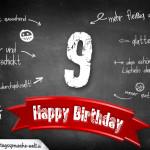 Komplimente und Sprüche zum 9. Geburtstag auf Tafel geschrieben
