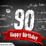 Komplimente und Sprüche zum 90. Geburtstag auf Tafel geschrieben