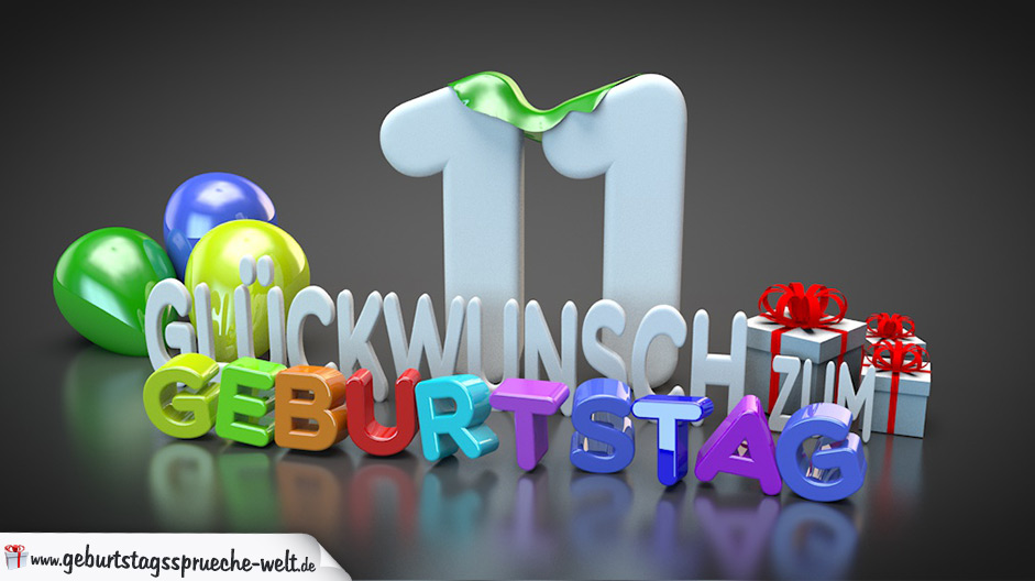 edle geburtstagskarte mit bunten 3d buchstaben zum 11 geburtstag geburtstagsspr che welt. Black Bedroom Furniture Sets. Home Design Ideas