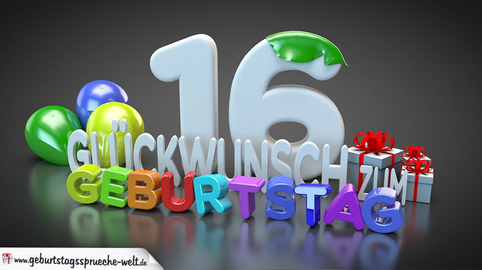 edle geburtstagskarte mit bunten 3d buchstaben zum 16 geburtstag geburtstagsspr che welt. Black Bedroom Furniture Sets. Home Design Ideas