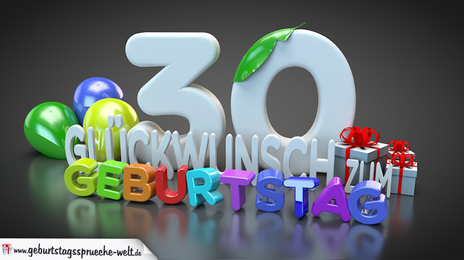 edle geburtstagskarte mit bunten 3d buchstaben zum 30 geburtstag geburtstagsspr che welt. Black Bedroom Furniture Sets. Home Design Ideas