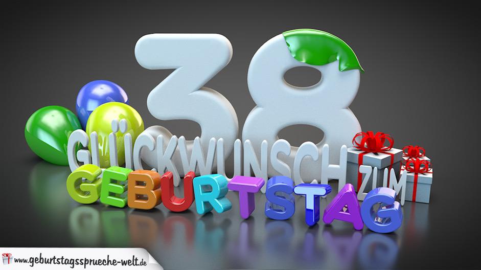 Edle Geburtstagskarte Mit Bunten 3d Buchstaben Zum 38 Geburtstag