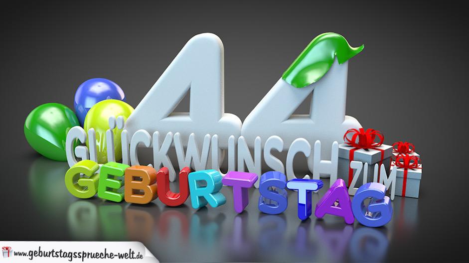 Edle Geburtstagskarte mit bunten 3D-Buchstaben zum 44