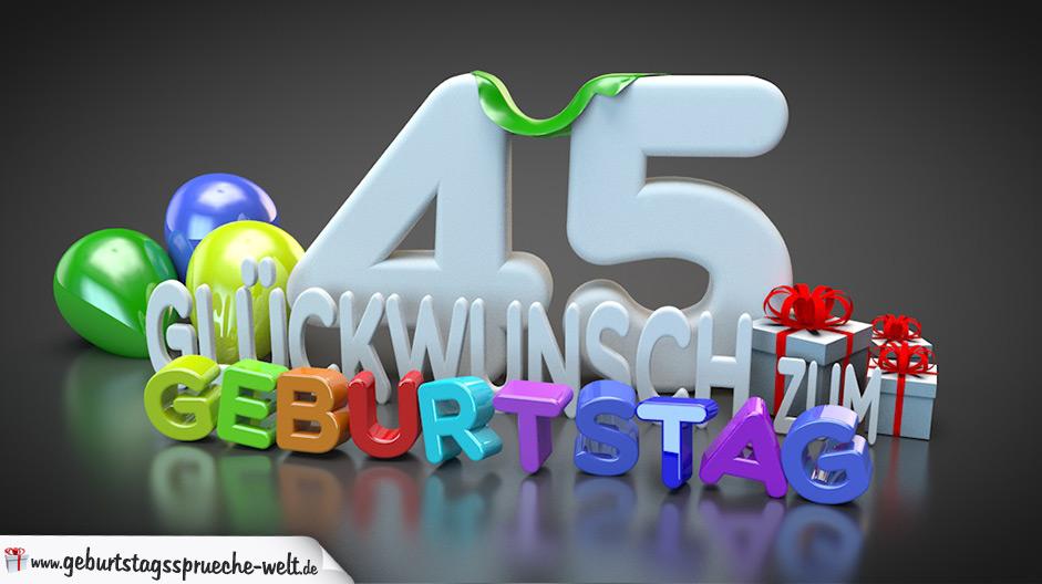 Edle Geburtstagskarte mit bunten 3D-Buchstaben zum 45