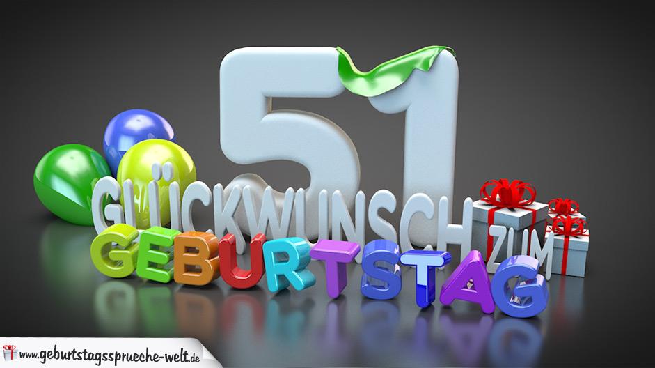 Edle Geburtstagskarte mit bunten 3D Buchstaben zum 51. Geburtstag