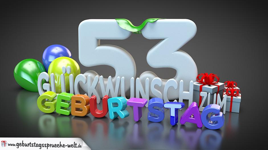 Edle Geburtstagskarte mit bunten 3D Buchstaben zum 53. Geburtstag