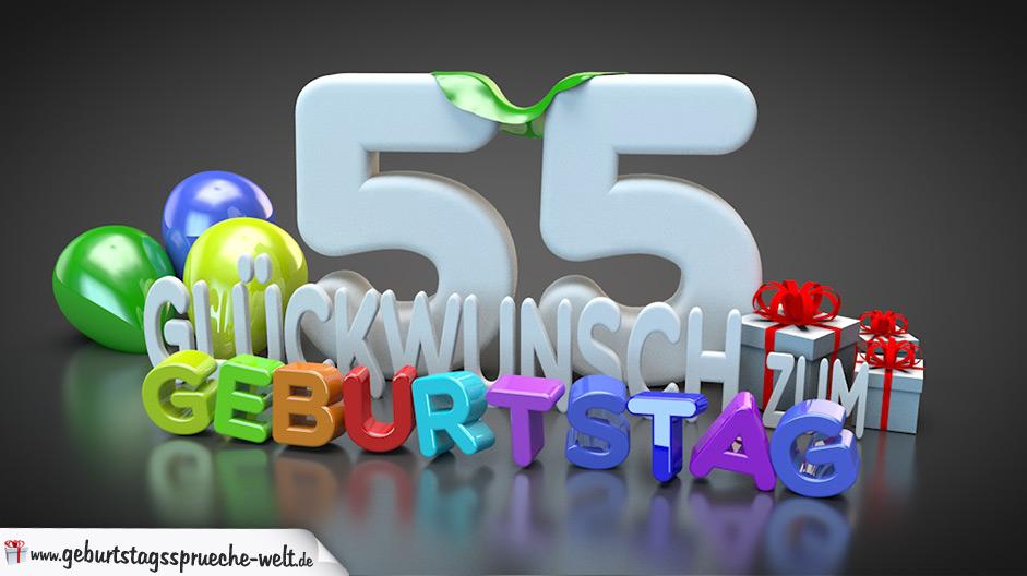 Edle Geburtstagskarte mit bunten 3D Buchstaben zum 55. Geburtstag