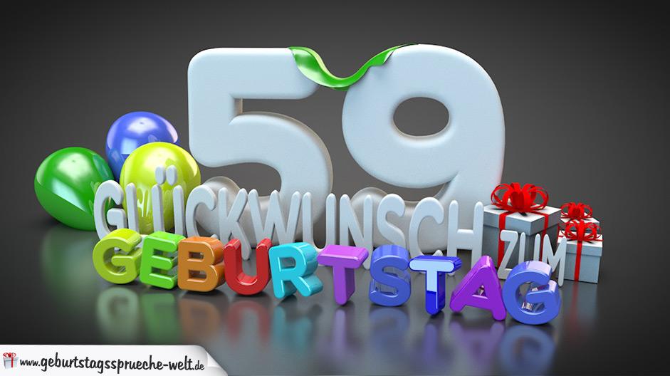 Edle Geburtstagskarte Mit Bunten 3d Buchstaben Zum 59