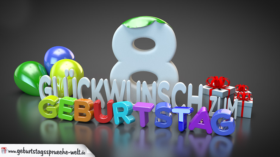 Edle Geburtstagskarte mit bunten 3D Buchstaben zum 8. Geburtstag