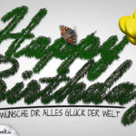 Glückwunschkarte Happy Birthday mit Naturelementen