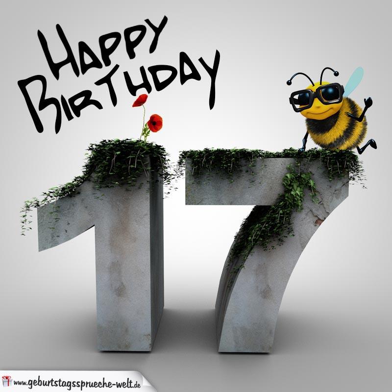 happy birthday 3d - 17. geburtstag - geburtstagssprüche-welt