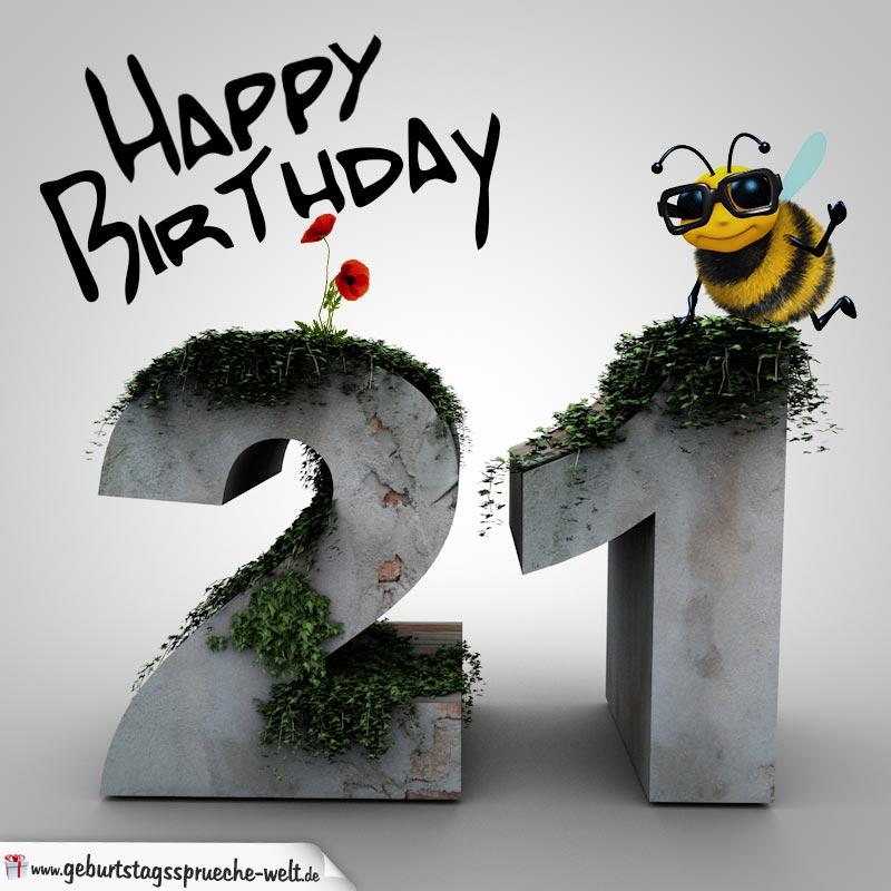 happy birthday 3d - 21. geburtstag - geburtstagssprüche-welt