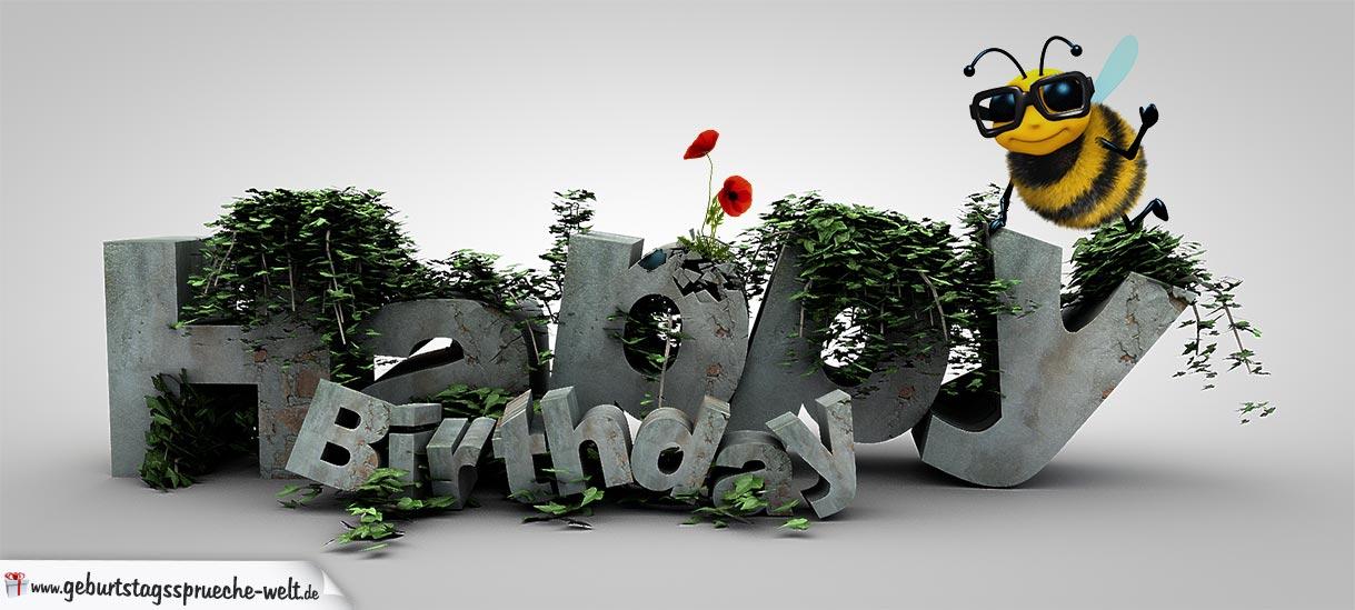 Happy Birthday 3D in Stein geschrieben mit Biene und Mohnblume