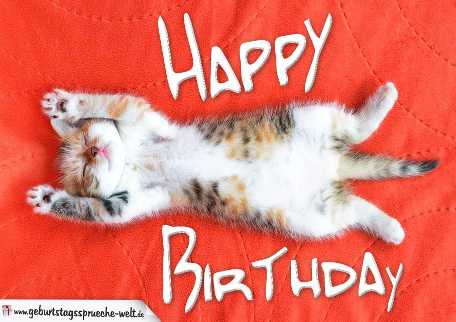 Happy Birthday Karte mit schlafender Katze
