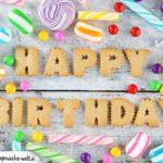 Happy Birthday-Karte aus Keksen