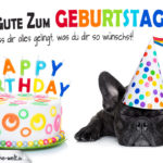 Wünsche zum Geburtstag - Alles Gute mit Torte und Hund