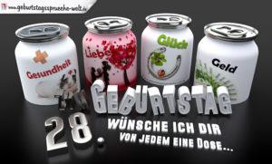 3D Geburtstagskarte mit Glückwünschen in Dosen zum 28. Geburtstag