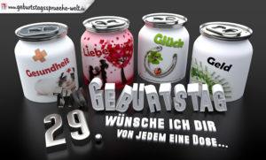 3D Geburtstagskarte mit Glückwünschen in Dosen zum 29. Geburtstag