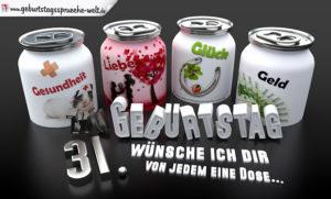 3D Geburtstagskarte mit Glückwünschen in Dosen zum 31. Geburtstag