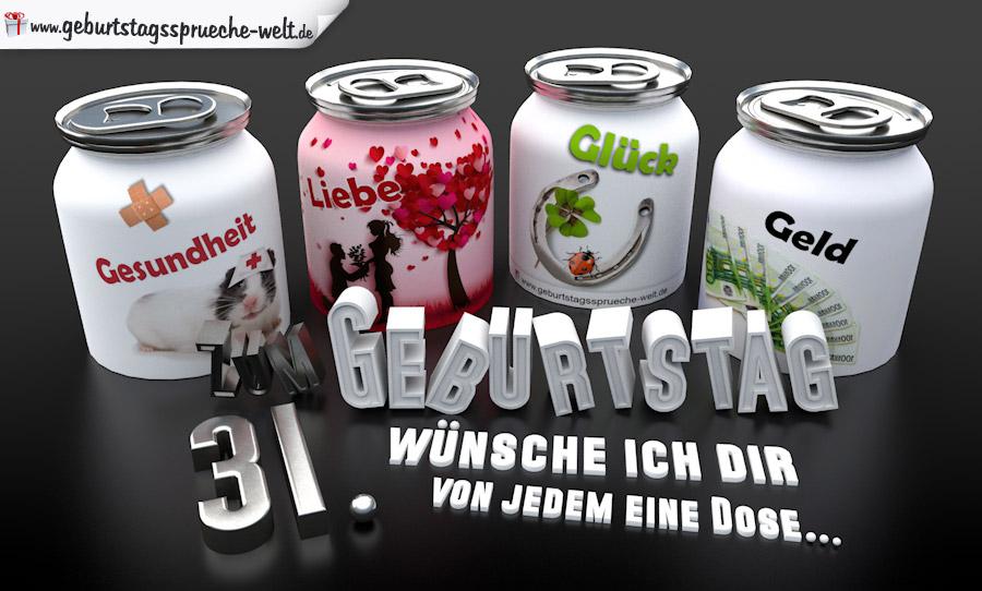3d Geburtstagskarte Mit Glückwünschen In Dosen Zum 31
