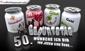 3D Geburtstagskarte mit Glückwünschen in Dosen zum 50. Geburtstag
