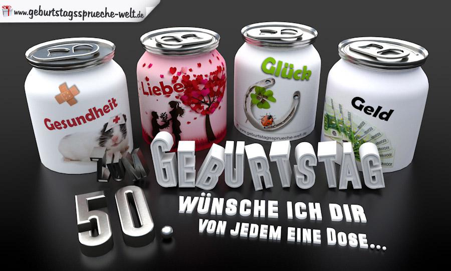3D Geburtstagskarte mit Glückwünschen in Dosen zum 50