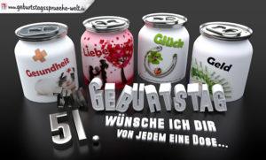 3D Geburtstagskarte mit Glückwünschen in Dosen zum 51. Geburtstag