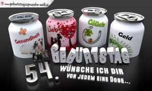3D Geburtstagskarte mit Glückwünschen in Dosen zum 54. Geburtstag