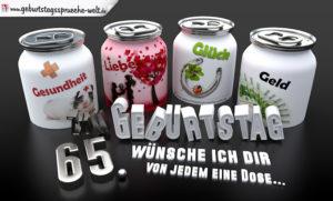 3D Geburtstagskarte mit Glückwünschen in Dosen zum 65. Geburtstag