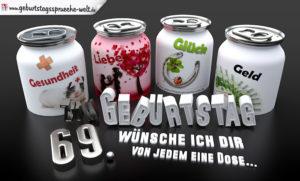 3D Geburtstagskarte mit Glückwünschen in Dosen zum 69. Geburtstag