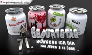 3D Geburtstagskarte mit Glückwünschen in Dosen zum 71. Geburtstag