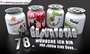 3D Geburtstagskarte mit Glückwünschen in Dosen zum 78. Geburtstag