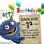 Glückwünsche zum 32. Geburtstag lustig erwachsen