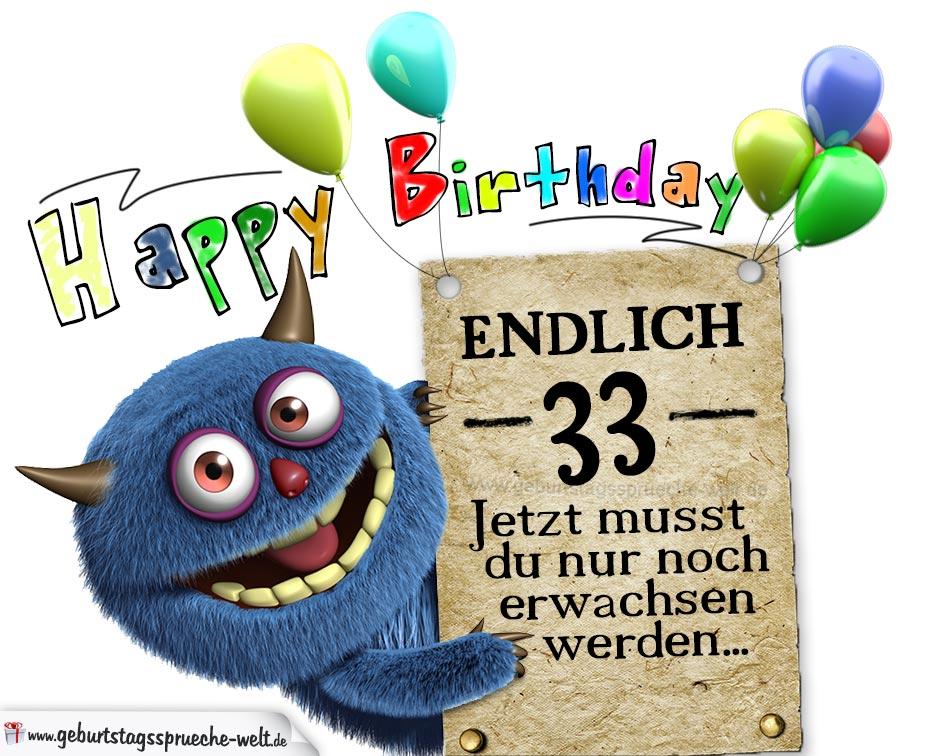 Glückwünsche Zum 33 Geburtstag Lustig Erwachsen