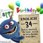 Glückwünsche zum 34. Geburtstag lustig erwachsen
