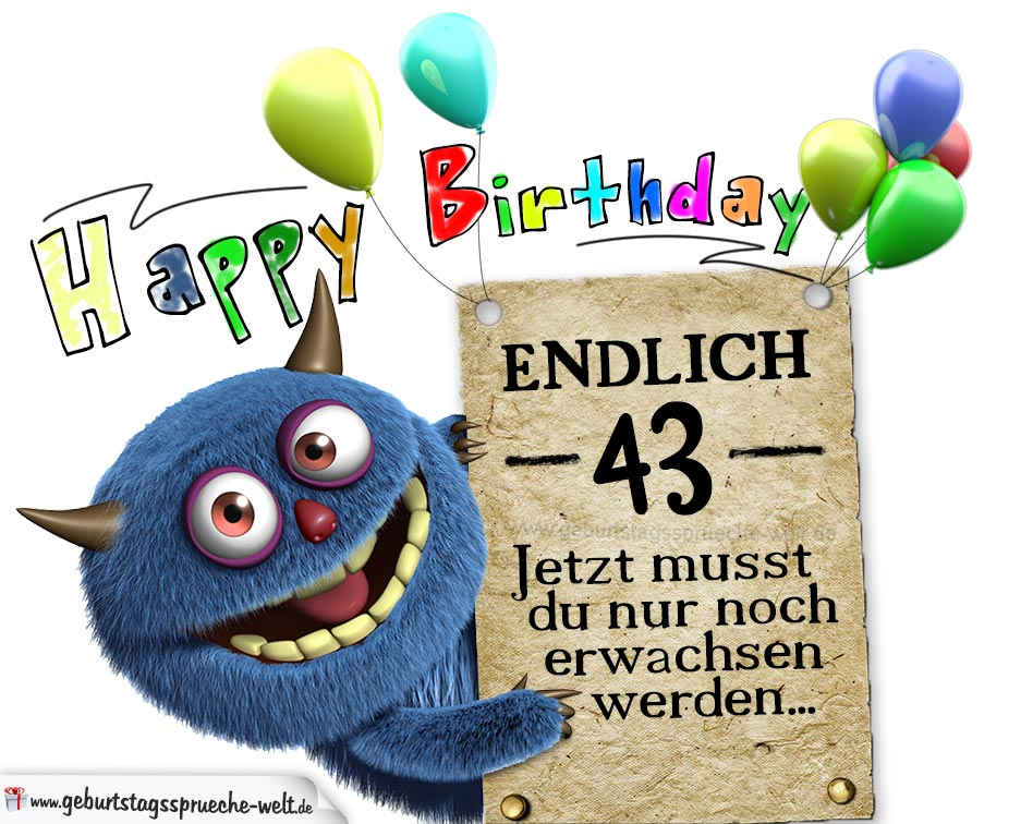 Glückwünsche zum 43. Geburtstag lustig erwachsen
