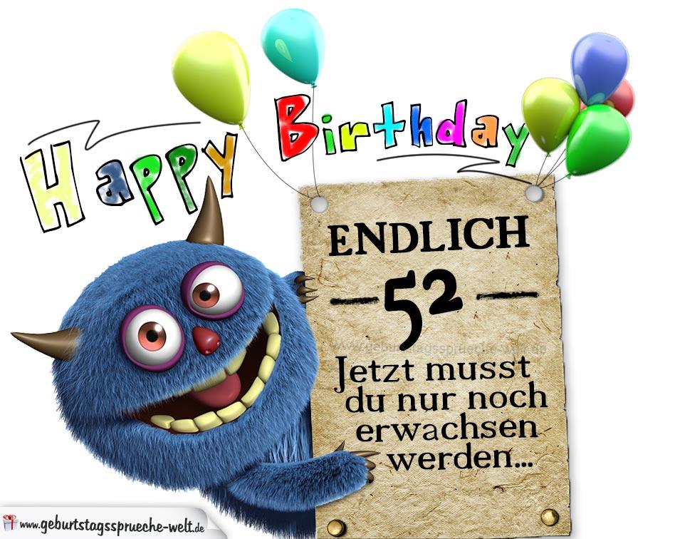 Glückwünsche Zum 52 Geburtstag Lustig Erwachsen