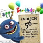 Glückwünsche zum 56. Geburtstag lustig erwachsen