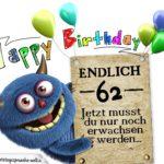 Glückwünsche zum 62. Geburtstag lustig erwachsen