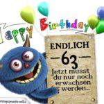 Glückwünsche zum 63. Geburtstag lustig erwachsen