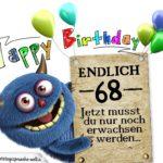 Glückwünsche zum 68. Geburtstag lustig erwachsen